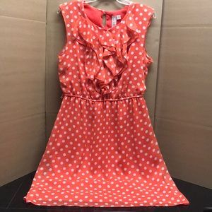 Coral, polka dot, vintage dress. Size 12